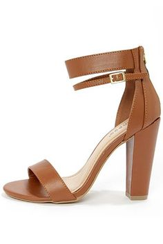 Tan sandal with double ankle strap and chunky heel
