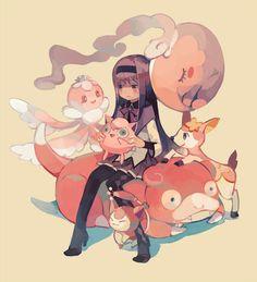puella magi madoka magica, mahou shoujo madoka magica, homura akemi, pokemon #tsumura
