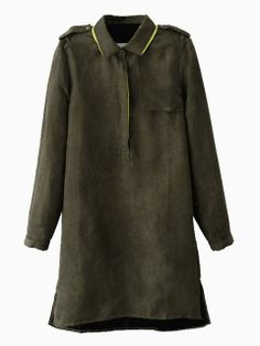 Army Green Suedette Shirt Dress With Contrast Collar Detail | Choies