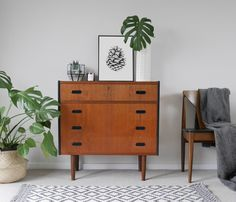 Mid Century Modern Teak Chest of Drawers with Dressing Table Mirror. Upcycled & Painted with Black and Tropical Jungle Leaf. Danish Style by ElizabethDotDesign on Etsy https://www.etsy.com/uk/listing/514538095/mid-century-modern-teak-chest-of-drawers