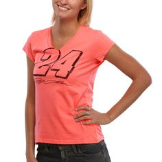 Jeff Gordon Ladies Neon V-Neck T-Shirt - Coral