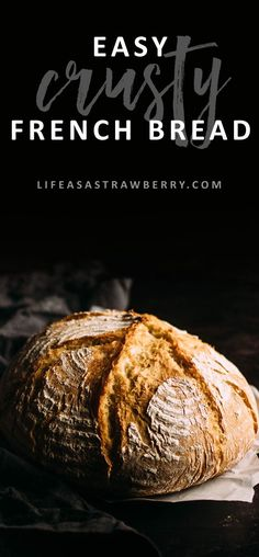 Easy Crusty French Bread - This easy dutch oven bread recipe is sure to be a hit! Ready quickly in just a few hours - no overnight rising necessary. Baked in a dutch oven for a crispy crust on the outside and soft, airy homemade bread on the inside! Vegetarian.