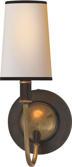 Visual Comfort: Bronze with Antique Brass Accents Finish, Natural Paper w/ Black Tape Shade