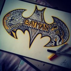 Batman Zentangle, Drawings Art, Cool Batman Drawings, Batman Drawing Sketches, Zentangle Batman, We Heart It, Drawing Ideas, Drawings Painting, Drawing ...