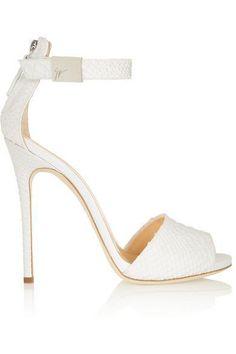Giuseppe Zanotti ~ 'Coline' Snake-effect White Leather Sandal