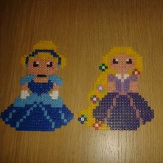 Cinderella and Rapunzel hama beads by rebekahc78