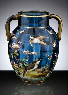 Moser Glass Enameled Vase. 1910