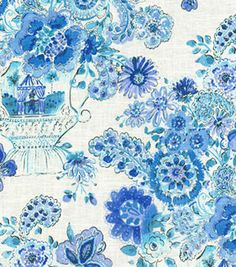 Home Decor Print Fabric- Dena Blissful Bouquet/Blueberry