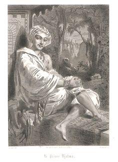 """Prince Djalma (Mérante), neveu de l'émir, aime Farfalla (Emma Livry), jeune servante, dans le ballet """"Le Papillon"""" en 2 actes et 4 tableaux de Marie Taglioni musique de Jacques Offenbach créé à l'Opéra de Paris le 26 novembre 1860."""