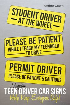Magnetic Car Signs for Teen Drivers / wish I'd had these for the first two. Especially when learning to drive a standard transmission! Jordan Future, Driving Teen, Driving School, Magnetic Car Signs, Drivers Ed, Teen Driver, Car Hacks, Organization Hacks, Teaching