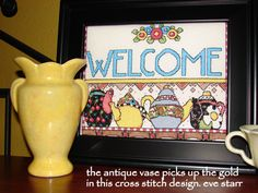 Check out this item in my Etsy shop https://www.etsy.com/listing/96924051/cross-stitch-beading-welcome-sign