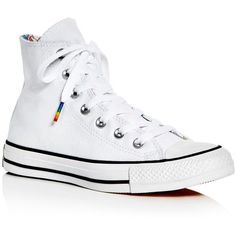 Converse Women's Chuck Taylor All Star Rainbow High Top Sneakers ($60) ❤ liked on Polyvore featuring shoes, sneakers, white multi, high top shoes, white high tops, high-top sneakers, converse shoes and converse trainers