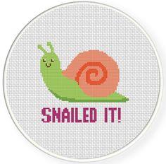 SALE Stitch Snailed It PDF Cross Stitch by DailyCrossStitch