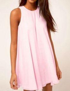 Round Neck Shift Pink Dress