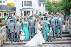 Grey and Tiffany Blue Wedding Party
