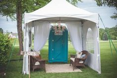 backyard wedding This is the solution for the restroom situation. We can use the wicker furniture from your moms and we will need a small tent. Outside Wedding, Farm Wedding, Wedding Tips, Rustic Wedding, Wedding Venues, Backyard Tent Wedding, Classy Backyard Wedding, Diy Wedding Tent, White Tent Wedding