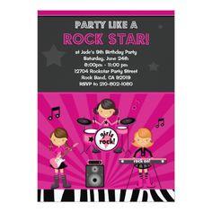 Rock Star Girls Birthday Party Invitation