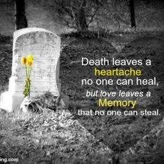 """""""DEATH leaves a heartache no one can heal.  LOVE leaves a memory that no one can steal."""" beautiful"""