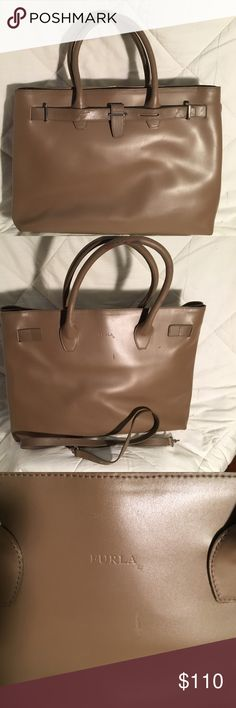 Authentic Vintage Furla handbag Very good condition. Beautiful leather with detachable strap for shoulder wear. Lining is lovely Furla embossed gold material with zippered pocket. Furla Bags Totes