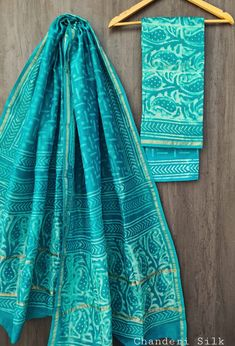 Price Rs 1600 + Shipping extra Hand block Printed chanderi silk dress materials Top and dupattas chanderi silk (2.50×2 mtrs) Bottom cotton (2.50 meters) Chanderi Suits, Chanderi Silk Saree, Silk Sarees, Silk Suit, Exclusive Collection, Cotton Dresses, Kurti, Pure Products, Blouse