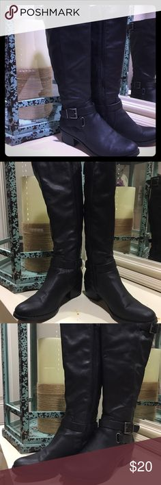 Black Riding Boots; Size 7. I have these leather boots, I bought from JastFab, that I have never worn before. I have big calfs so I couldn't zip them up all the way. They are perfect for this winter season! JustFab Shoes Heeled Boots