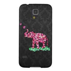 Retro Flower Elephant Pink Sakura Black Damask Cases For Galaxy S5