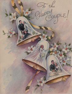Vintage Bride Groom in Wedding Bells Greeting Card Vintage Wedding Cards, Vintage Wedding Invitations, Vintage Cards, Vintage Postcards, Vintage Weddings, Vintage Paper, Wedding Bells Clip Art, Wedding Art, Vintage Groom