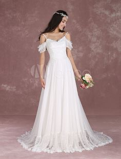 Vestido de noiva Bohemian de renda em linha-A decote V em coração com fita fina Cintura Natural Fecho Com Cauda com cintura cor de marfim