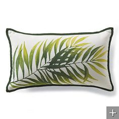 Outdoor Hand-painted Fern Leaf Pillow from Frontgate