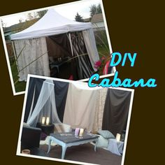 DIY Cabana. Event tent, lots of curtain panels,zip ties, tons of pillows,mini heater and chalkboard top coffee table