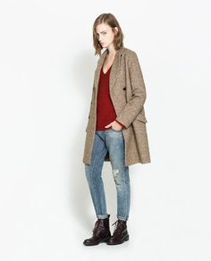 MASCULINE COAT WITH CHECKED LINING from Zara