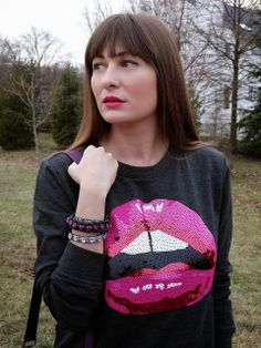 pink lips sequin sweatshirt from @Forever 21, as worn by fashion blogger House Of Jeffers #fashion #sequins