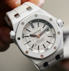 """Audemars Piguet Royal Oak Offshore Diver Watch In White Ceramic Hands-On - Read more and see the photos on aBlogtoWatch.com """"It is a little hard for me to believe that it has been about four years since the launch of the original Audemars Piguet Royal Oak Offshore Diver back in 2010..."""""""