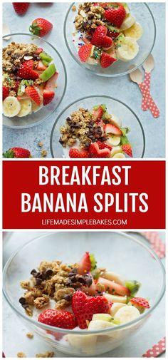 Yogurt, fruit and granola make these breakfast banana splits a healthy and fun wayto start your day! #breakfastbananasplits #bananasplits #healthybananasplit #breakfast
