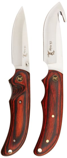Elk Ridge ER-013 COMBO KNIFE SET 2 PIECE, 8.5 AND 8 Overall. Affordable for everyone. Field tested. Made using high quality materials. 2 piece hunting knife set. includes 8-Inch fixed blade and 4.5-Inch folder. Packwood handle with deer medallion in. nylon sheath.