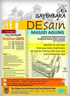 #SayembaraDesain #MesjidAgung #Banjarbaru #PemprovKalsel Sayembara Desain Mesjid Agung Banjarbaru 2017 Berhadiah Total 122,5 Juta Rupiah  DEADLINE: 19 Mei 2017  http://infosayembara.com/info-lomba.php?judul=sayembara-desain-mesjid-agung-banjarbaru-2017-berhadiah-total-1225-juta-rupiah