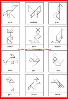 Free Animal Contours for Tangram Game Learning Activities, Kids Learning, Activities For Kids, Tangram Printable, Tangram Puzzles, Math Art, Math For Kids, Learning Through Play, Pattern Blocks