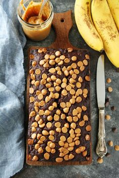 Chocolate Peanut Butter Banana Bread Moist chocolate banana bread with a peanut butter swirl and peanut butter chips on top! This quick and easy banana bread recipe is a family favorite!