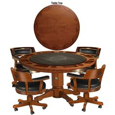 Harley Davidson Poker Table And Chairs Set W/Heritage Brown Finish $3,199.00