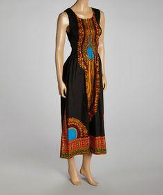 Look at this #zulilyfind! Black Shirred Sleeveless Tribal Maxi Dress #zulilyfinds