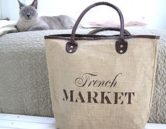 Burlap French Market Tote