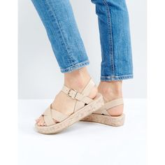 Truffle Collection Cork Flatform Sandal featuring polyvore women's fashion shoes sandals beige peep-toe shoes beige sandals cork shoes ankle tie sandals flatform sandals