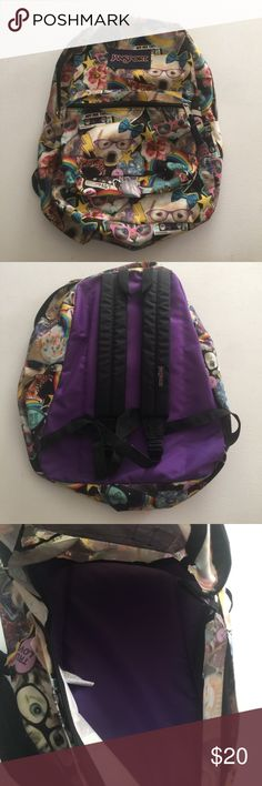 Jansport Superbreak Backpack Cats and Dogs design This backpack is in great used condition. No rips or tears on it. On the inside, my daughters name is written on it but it can be taken off my acetone or something. Jansport Bags Backpacks