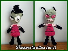 """Crochet Amigurumi """"Invader Zim"""" Disguised and Undisguised Zim pattern set by Shimmeree Creations on Ravelry"""