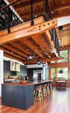 Love a lot about this! Talk timber ceilings, warm industrial modern, great windows, dining off to side, loft with exposed bookshelves A Frame Cabin, A Frame House, Cabin Homes, Log Homes, Küchen Design, House Design, Barn House Plans, Shop House Plans, Barn Plans