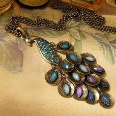elegant peacock necklace, beautiful feathers made with colorful crystal $7
