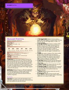 Madame Fortuna | CR 5 (The Carnival Has Arrived) : DnDHomebrew Dungeons And Dragons Homebrew, D&d Dungeons And Dragons, Warcraft Heroes, Dnd Stats, Creepy Carnival, Dungeon Master's Guide, Darkest Dungeon, Dnd Monsters, Monster Cards