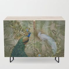 Vintage Royal Peacock Temple Dreams Credenza by justkidding #Credenza #graphicdesign #peacock #white #buegree #vintage