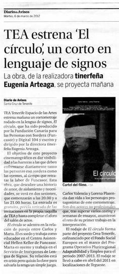 EL CÍRCULO. Estreno. Diario de Avisos. 06/03/2012.