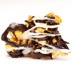 recipe not incl. carmel popcorn drizzled with dark and white chocolate